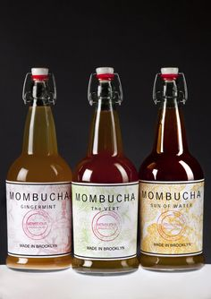 MOMBUCHA - the Mother of Kombucha, made in Brooklyn. Love the product and packaging - and they turn you on to how to make Kombucha yourself at home.