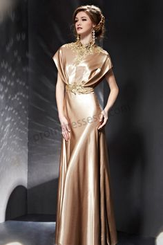 Gold Appliques Sequined High Collar Draped Dinner Dress BE035
