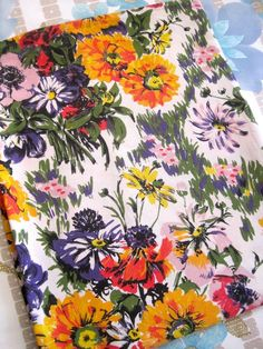 1960 s Pretty Colourful Florals - French Fabric  #vintage fabric patterns.   Click to visit my Etsy shop and check out my other vintage fabrics.