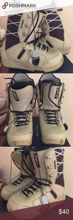 Mens Burton snowboard boots brown tan lace up You get the exact item pictured. Normal used condition. Some scuffs, stains and minor nicks. See pictures for details. Men's size 10. Feel free to ask questions. Burton Shoes Boots