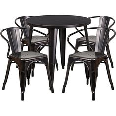 Brimmes 5 Pcs Table Set Round 30 Black Antique Gold W