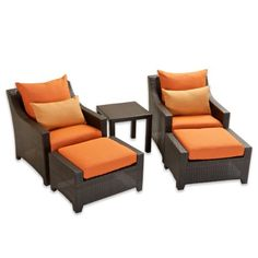 Adirondack Outdoor Furniture RST Outdoor Tikka Club Chairs And Ottomans Set