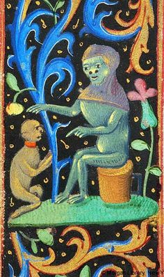 small monkey wearing collar kneeling with joined hands before monkey wearing hood, extending right paw, indicating Small monkey with left paw, sitting on upended cask with handle   Book of Hours   France, Rouen or Orléans   last quarter of 15th century   The Morgan Library & Musuem