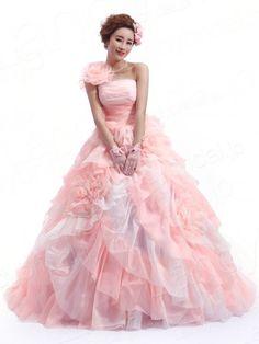 カラードレス プリンセスライン ワンショルダー サーモンピンク?アイボリー 花モチーフ ボリューム感あるスカート JWLT14022
