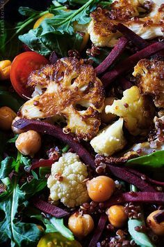 Power Salad - roasted cauliflower, beets, red quinoa. Oh my.