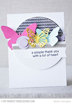 Kind Thanks Stamp Set, Mini Hexagon Background, Sweater Stitch Background, Flutter of Butterflies - Lace Die-namics, Flutter of Butterflies - Solid Die-namics, Hip Clips Die-namics, Pierced Circle STAX Die-namics, Blueprints 21 Die-namics - Keisha Campbell  #mftstamps