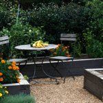 Contemporary Cottage Garden teak table and chairs - traditional - Landscape - Birmingham - Troy Rhone Garden Design Pea Gravel Garden, Pebble Garden, Gravel Patio, Small Backyard Patio, Gravel Driveway, Cement Patio, Wood Patio, Garden Edging, Contemporary Cottage