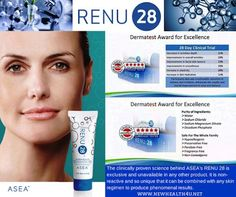 Do You RENU? The clinically proven science behind ASEA's RENU 28 is exclusive and unavailable in any other product. It is non-reactive and so unique that it can be combined with any skin regimen to produce phenomenal results. Visit http://www.redoxsignalh2o.teamasea.com to learn more or to purchase RENU 28.