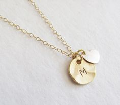 Initial Charm With 14k Gold Filled Heart Necklace / Teilla