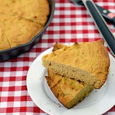 Paleo version of skillet cornbread made with coconut flour, tapioca starch, apple cider vinegar, honey, and coconut milk.