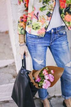 Floral + Distressed denim...hmm, I like the idea, maybe a different floral?