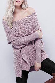 Off-The-Shoulder Solid Color Side Slit High-Low-Hem Sweater