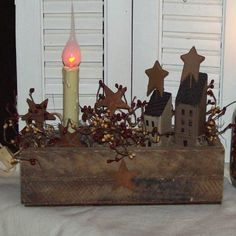 Primitive slat box light- with berries & saltbox houses.