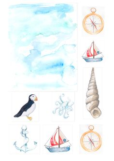 Download our free nautical printables for your papercraft projects. With seascapes, shells, and cute marine animals, you can make lovely cards.