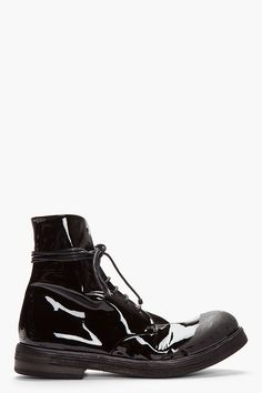 MARSÈLL Black Patent Leather Scuffed Lace-Up Boots