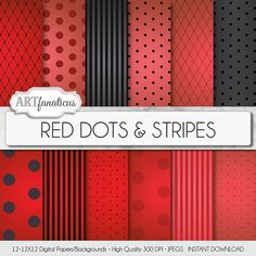 """Red and Black digital papers """"Red Dots & Stripes"""" Sexy red backgrounds, black, vignette, polka dots, stripes, Valentines Day, Boudoir #backgrounds #overlay"""