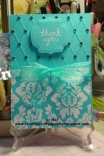 thank you card. These are my colors! Love this card design. I esp. love the way you embossed the card and then added the gems.