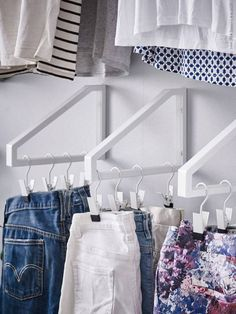 Denim hangers Need a little more space to store the denim collection? In lieu of shelves lined with piles upon piles of jeans, repurpose these brackets (paired with hook clips) to recreate this clever storage solution!
