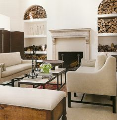 I Like How The Wood For Fire Place Are On Display In Recesses Living Room Designsliving