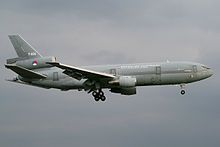 The second Royal Netherlands Air Force KDC-10 with landing gear down.