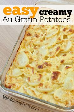 The easiest creamy au gratin potatoes! Instead of layering the potatoes mix everything together and throw it all in a baking dish. This is our favorite potato side dish. Perfect for a potluck or with any holiday meal.
