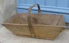 Antique French Primitive Wooden Trug Basket For Gathering Grapes in Vineyard