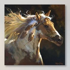 "East Urban Home 'Spirit Horse' Painting Print on Canvas Size: 18"" H x 18"" W x 0.75"" D"
