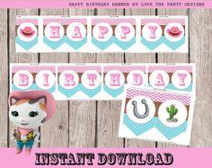 SALE Sheriff Callie Happy Birthday Banner by LovethePartyDesigns, $3.95