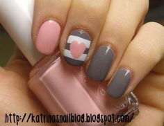 Pink and gray nails
