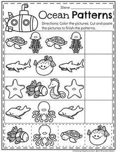 Preschool Ocean Theme Patterns Worksheet #preschool #oceantheme #preschoolactivities #preschoolworksheets #planningplaytime #patterns