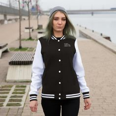 Bring back nostalgia with your personalized Womens Varsity Letterman Jacket! Coming in a variety of colors, this lightweight coat oz) helps you stay warm, cute and comfortable when running errands around town. XS S M L XL Width, cm 57 Length, cm 66 Varsity Letterman Jackets, Bomber Jackets, Bad Girls Club, Manga, Color Azul, Navy And White, Female, Trending Outfits, Sweatshirts