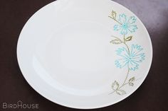 dot painted china - using Pebeo Porcelaine 150 markers and plain china plate