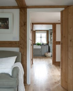 summer cottage from Border Oak - white, warmth of new oak, and pale duck egg paint - The Paper Mulberry: White My Living Room, Home And Living, Living Spaces, Border Oak, Oak Framed Buildings, Oak Frame House, Modern Country Style, Modern Rustic, Cottage Interiors