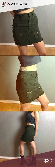 """Cotton On Army Green Ripped Pencil Skirt Distressed , good quality denim. High waisted. MEASUREMENTS: waist 14"""" , length 16"""" , bottom hem 15.5"""" Boots also available for purchase in my closet💕 Cotton On Skirts Mini"""
