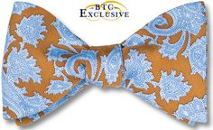 bow ties paisley brown blue silk american made