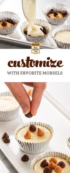 Looking for easy dessert recipes for a graduation party? Serve up these mini cheesecake bites, customized with different morsel flavors. Start with vanilla wafers, then add your favorite morsels, like dark chocolate, premium white, milk chocolate or even peanut butter. Top with a cream cheese mixture and finish with more morsels.