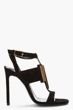 Saint Laurent Black & Gold Suede Janis T-strap Sandal for women | SSENSE $836.00