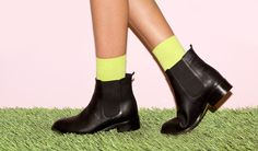 City Boot + Solid Calf-High Sock! #AmericanApparel #shoes #boots #spring #pastel