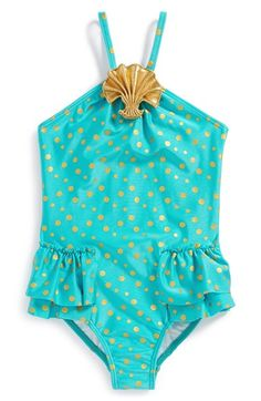 Love U Lots One-Piece Swimsuit (Toddler Girls & Little Girls) available at #Nordstrom Gold Sea Shell