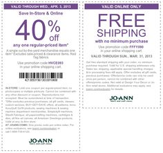40% off a single item at Jo-Ann Fabric, or online via promo code HVCE093 coupon via The Coupons App