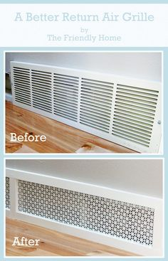 DIY with decorative sheet metal. A better looking return air grill http://www.friendly-home.net/2012/10/a-better-looking-return-air-grille.html