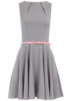 grey sleeveless belted flared skater dress