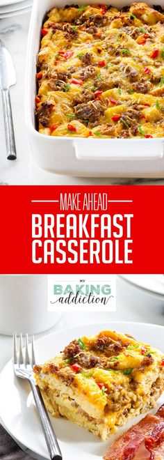 Make-Ahead Breakfast Casserole is loaded with sausage, cheese and eggs. Assemble it the night before for a simple, delicious breakfast in no time! Perfect for holidays!