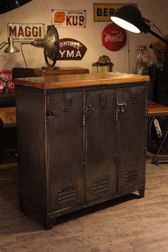vestiaire ancien recoupé deco loft meuble industriel