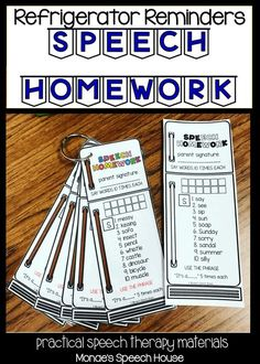 No more excuses. Students and parents will remember to practice speech during the week, with these easy to print reminders! Perfect for articulation and phonology. SLPs will love these easy to use worksheets. Speech Therapy Worksheets, Articulation Therapy, Speech Activities, Speech Language Therapy, Speech Therapy Activities, Speech And Language, Articulation Activities, Language Activities, Speech Therapy Organization