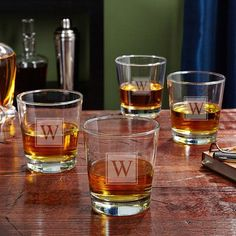 Home Wet Bar On the Rocks Personalized 12 oz. Whiskey Glass Monogram: P