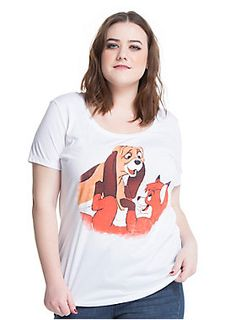 Friends that didn't know they were supposed to be enemies // Disney The Fox And The Hound Classic Tod Copper Girls T-Shirt Plus Size