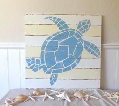 Nautical Handpainted Sea Turtle Sign. $90.00, via Etsy. @ teomac