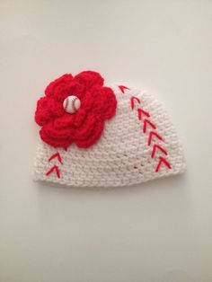 Crochet Baby Girl Baseball Hat with Flower,NewbornPhoto Prop,Baseball Hat,Made To Order by ComfyCrochetBoutique on Etsy