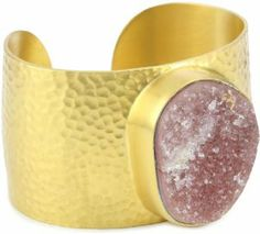 "Heather Benjamin ""Sea"" Rose Druzy Hammered Gold Plated Cuff Bracelet Heather Benjamin. $619.99"